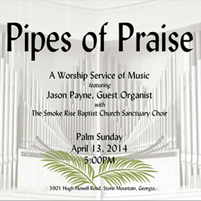 Pipes of Praise: A Worship Service of Music April 13 5pm