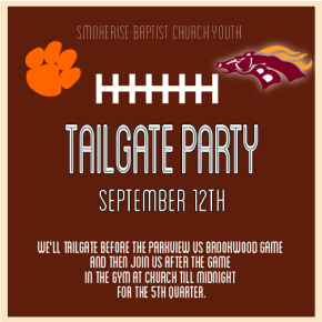 Youth Tailgate Party Sept 12