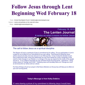 The Lenten Journal: Kathy Dobbins