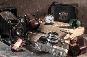Vintage still-life with old retro cameras